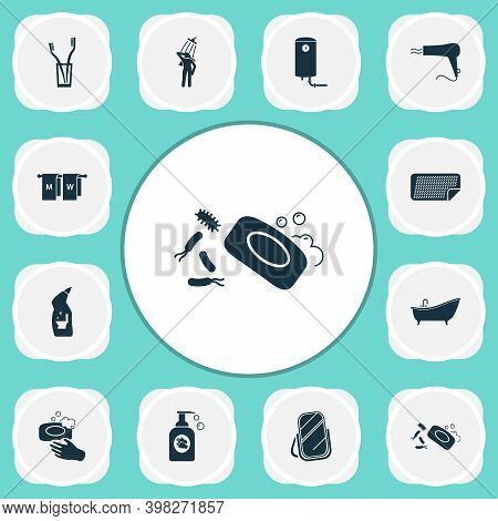 Toilet Icons Set With Mirror, Hairdryer, Toilet Cleaner And Other Bathroom Elements. Isolated Vector