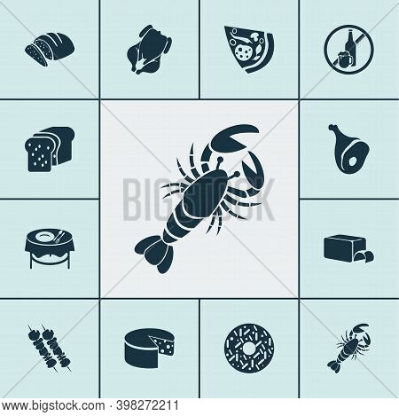Eating Icons Set With Chicken, Bread, Cheddar And Other Crab Elements. Isolated Vector Illustration