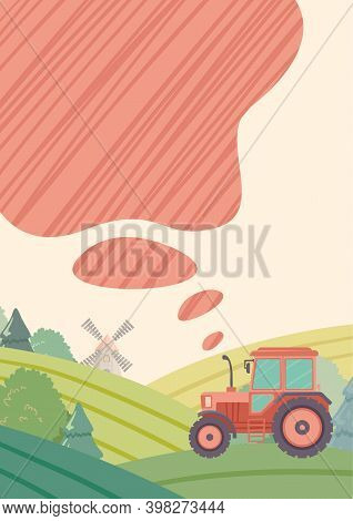Tractor Working In The Field. Tractor Drive Through Fields With Smoke Coming From Exhaust Pipe. Conc