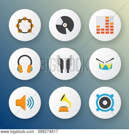 Multimedia Icons Flat Style Set With Frequency, Bullhorn, Percussion And Other Audio Elements. Isola
