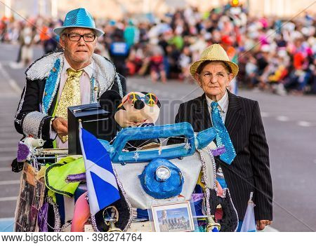 Tenerife, Spain - 09-02-2016: Tenerife Carnival - An Old Couple Disguised In Abstract Way