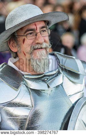 Tenerife, Spain - 09-02-2016: Tenerife Carnival - Man Disguised As Don Quijote De La Mancha