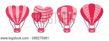 Hot Air Balloon Flat Set Heart Shaped Circle Pink