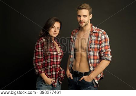 Lets Go Alone Forever. Couple Dark Background. Sexy Couple In Casual Wear. Couple Of Sensual Woman A