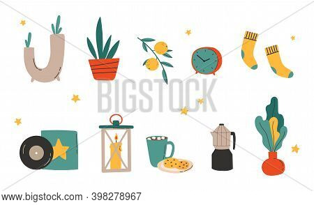 Hygge Decor Things. Winter Holiday Decor Set. Candle, Socks, Coffee And Xmas Home Symbols, Cartoon V