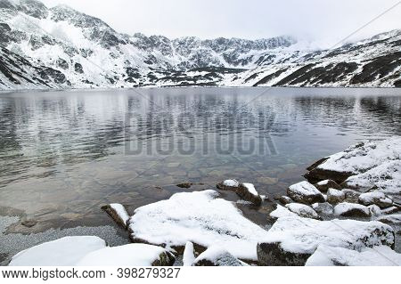 The Valley Of Five Lakes (dolina Pięciu Stawów) In National Tatras Park, Poland. Beautiful Winter Ti