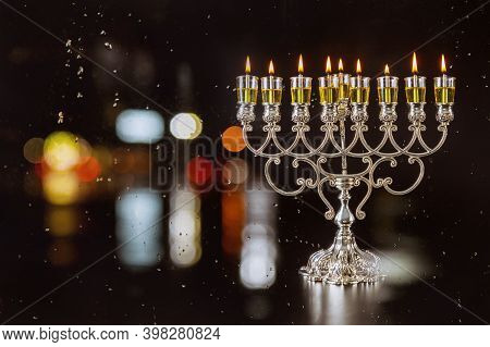 Chanukah A Burning Oil Candles Menorah Symbol Of Judaism Traditional Jewish Holiday