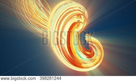Spiral Abstract Element From Particles, Computer Generated. 3d Rendering Vortex Background