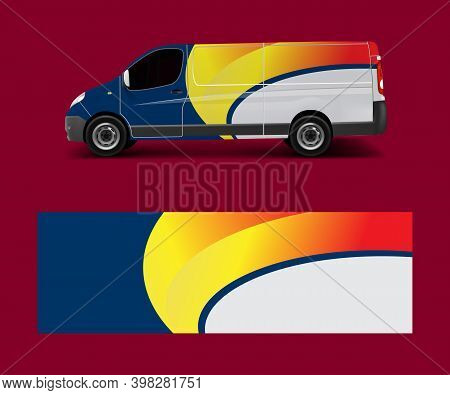 Cargo Van Wrap Vector, Graphic Abstract Stripe Designs For Wrap Branding Vehicle