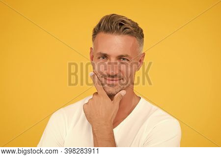 Man Attractive Well Groomed Facial Hair. Barber And Hairdresser. Preoccupied With Own Beauty. Man Ma