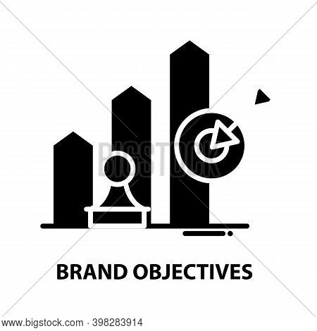 Brand Objectives Icon, Black Vector Sign With Editable Strokes, Concept Illustration