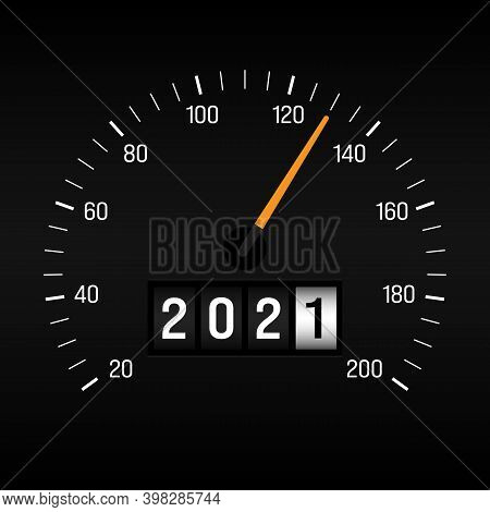 Happy New Year 2021 Concept Background Decorative With Odometer Number Counter. Design Element Can B