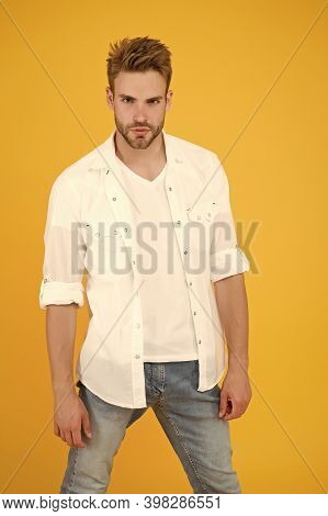 Reached Privileged Position. Attractive Man Wear Shirt. Confident In His Appealing. Bearded Guy Busi