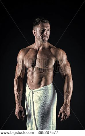 Enjoy Your Bath. Athletic Man In Bath Towel. Sexy Athlete Black Background. Post Workout Bath. Sport
