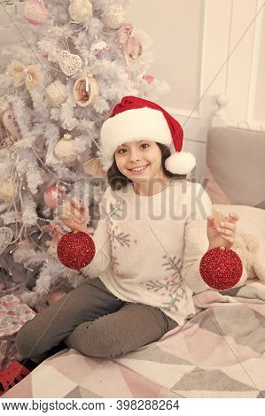 Dear Santa Ive Been Good. Little Santa. Happy Child Celebrate Christmas And New Year. Small Girl Smi