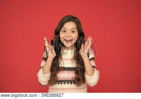 Keeping My Teeth White And Clean. Happy Child Red Background. Small Girl With Cute Smile. Smiling Ki