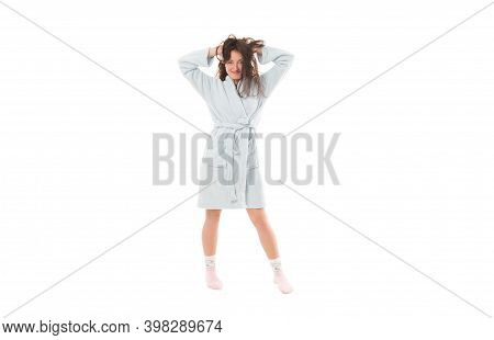 Perfect Morning Wakeup. Woman In Bathrobe Isolated On White. Good Morning. Cosy Day At Home. Lazy Su