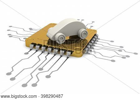 Computer Chip And Car Model, 3d Rendering