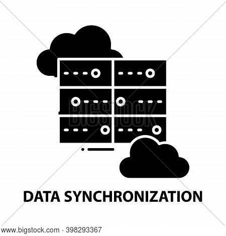 Data Synchronization Icon, Black Vector Sign With Editable Strokes, Concept Illustration