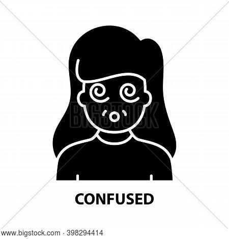 Confused Icon, Black Vector Sign With Editable Strokes, Concept Illustration