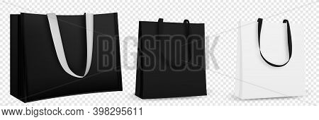 Shopping Bag Design. Black And White Tote Shopping Bags Identity Mock-up Item Template Transparent B