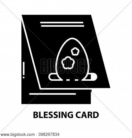 Blessing Card Icon, Black Vector Sign With Editable Strokes, Concept Illustration
