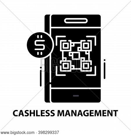 Cashless Management Icon, Black Vector Sign With Editable Strokes, Concept Illustration