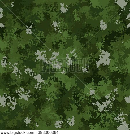 Seamless Digital Woodland Pixel Camo Texture Vector For Army Textile Print
