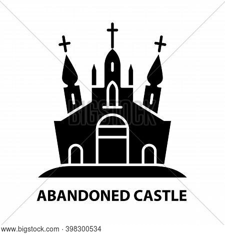 Abandoned Castle Icon, Black Vector Sign With Editable Strokes, Concept Illustration
