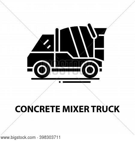 Concrete Mixer Truck Icon, Black Vector Sign With Editable Strokes, Concept Illustration