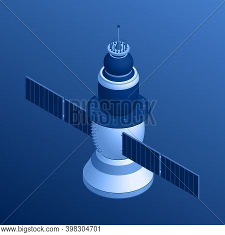 Isometric Space Satellite In Blue Tint. 3d Model Of Spacecraft. Vector Illustration.