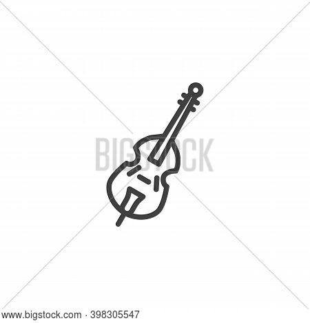Cello, Violin Musical Instrument Line Icon. Linear Style Sign For Mobile Concept And Web Design. Vio