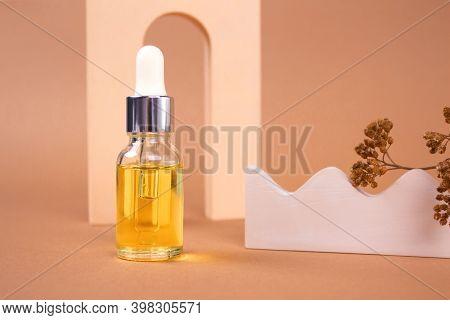 Dropper Bottle Of Natural Organic Cosmetics - Hyaluronic Acid, Serum, Moisturizer Or Facial Nourishi