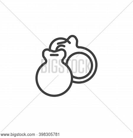 Castanets Musical Instrument Line Icon. Linear Style Sign For Mobile Concept And Web Design. Spanish