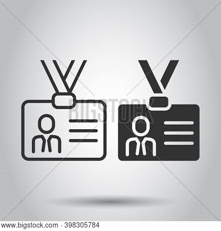 Id Card Icon In Flat Style. Identity Tag Vector Illustration On White Isolated Background. Driver Li