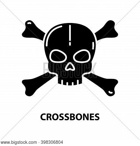 Crossbones Icon, Black Vector Sign With Editable Strokes, Concept Illustration