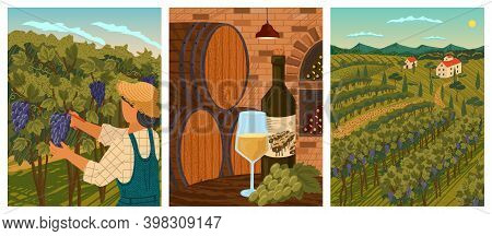 Vineyard Landscape And Winery Field With Villa Farm House. Hand Draw Vector Illustration Poster. Win