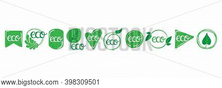 Eco Labels. Oganic Green Circle Frames With Leaves And Branches, Bio Products Stamps Collection, Eco