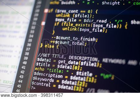 Program code on a monitor, software and programming concept