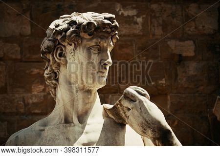 Duplicate of David by Michelangelo in Palazzo Vecchio in Florence Italy.