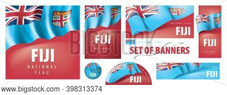Vector Set Of Banners With The National Flag Of The Fiji