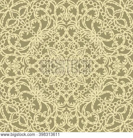 Lace Seamless Pattern With Classic Floral Ornament. Light Yellow Curls Of Flowers And Leaves On A Go