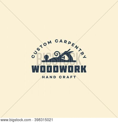 Logo Design Template With A Hand Plane For Wood Shop, Carpentry, Woodworkers, Wood Working Industry,