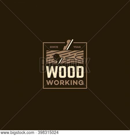 Logo Design Template With A Rabbet Plane For Wood Shop, Carpentry, Woodworkers, Wood Working Industr