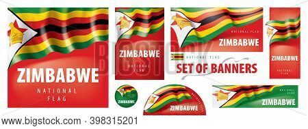 Vector Set Of Banners With The National Flag Of The Zimbabwe
