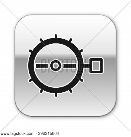 Black Trap Hunting Icon Isolated On White Background. Silver Square Button. Vector