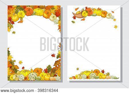 Autumn Templates Whith Cornucopia, Pumpkins On White Background.
