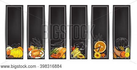 Vector Chalk Thanksgiving Horizontal Banners Set With Turkey, Pumpkin Pie, Cornucopia, Colorful Pump