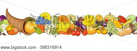 Horizontal Seamless Background With Cornucopia, Colorful Pumpkins, Vegetables, Fruits, Berryes And A