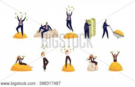Rich Business People With Bags Of Money And Piles Of Gold A Vector Illustration.